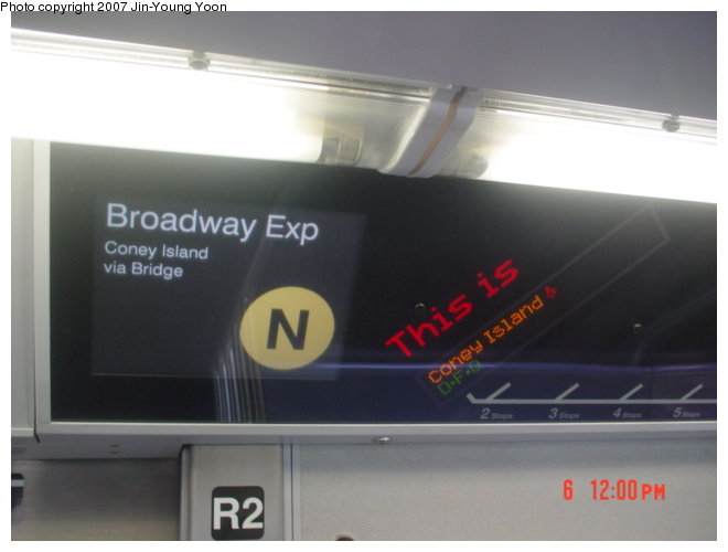 (43k, 660x500)<br><b>Country:</b> United States<br><b>City:</b> New York<br><b>System:</b> New York City Transit<br><b>Route:</b> N<br><b>Car:</b> R-160B (Kawasaki, 2005-2008)  8728 <br><b>Photo by:</b> Jin-Young Yoon<br><b>Date:</b> 4/6/2007<br><b>Notes:</b> Interior route display (FIND).<br><b>Viewed (this week/total):</b> 1 / 2127