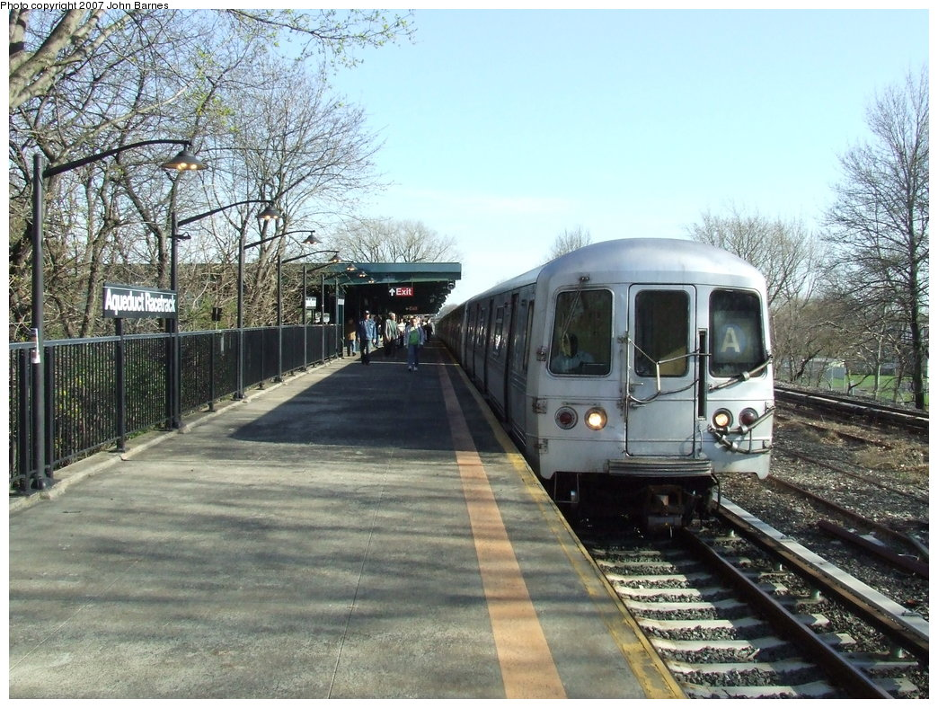 (236k, 1044x788)<br><b>Country:</b> United States<br><b>City:</b> New York<br><b>System:</b> New York City Transit<br><b>Line:</b> IND Rockaway<br><b>Location:</b> Aqueduct Racetrack <br><b>Route:</b> A<br><b>Car:</b> R-44 (St. Louis, 1971-73) 5250 <br><b>Photo by:</b> John Barnes<br><b>Date:</b> 4/21/2007<br><b>Viewed (this week/total):</b> 2 / 2872