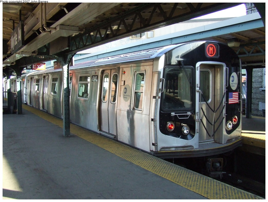 (196k, 1044x788)<br><b>Country:</b> United States<br><b>City:</b> New York<br><b>System:</b> New York City Transit<br><b>Line:</b> BMT Nassau Street/Jamaica Line<br><b>Location:</b> Myrtle Avenue <br><b>Route:</b> M<br><b>Car:</b> R-143 (Kawasaki, 2001-2002) 8141 <br><b>Photo by:</b> John Barnes<br><b>Date:</b> 4/21/2007<br><b>Viewed (this week/total):</b> 1 / 2929