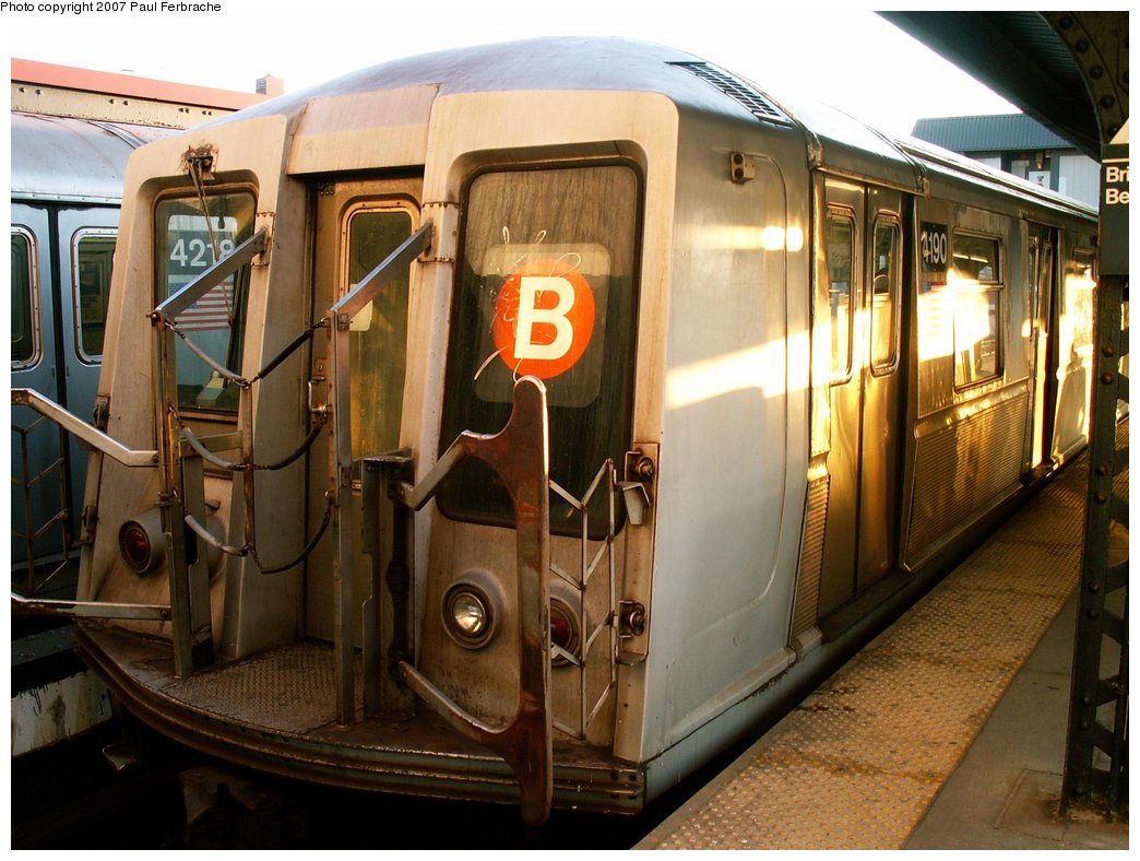 (232k, 1044x788)<br><b>Country:</b> United States<br><b>City:</b> New York<br><b>System:</b> New York City Transit<br><b>Line:</b> BMT Brighton Line<br><b>Location:</b> Brighton Beach <br><b>Route:</b> B<br><b>Car:</b> R-40 (St. Louis, 1968)  4190 <br><b>Photo by:</b> Paul Ferbrache<br><b>Date:</b> 4/10/2007<br><b>Viewed (this week/total):</b> 0 / 1885