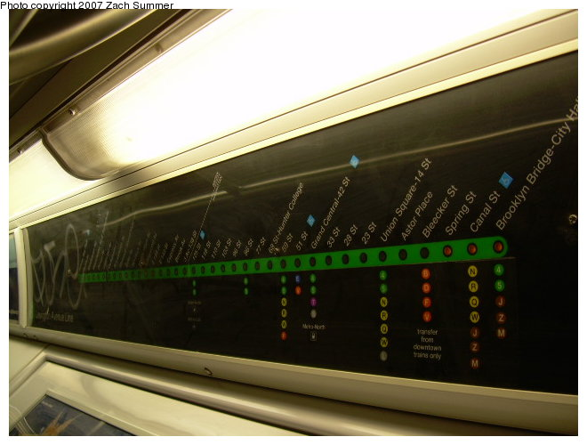 (100k, 660x500)<br><b>Country:</b> United States<br><b>City:</b> New York<br><b>System:</b> New York City Transit<br><b>Route:</b> 6<br><b>Car:</b> R-142 or R-142A (Number Unknown) Interior <br><b>Photo by:</b> Zach Summer<br><b>Date:</b> 6/15/2006<br><b>Notes:</b> 6 line strip map.<br><b>Viewed (this week/total):</b> 5 / 2671
