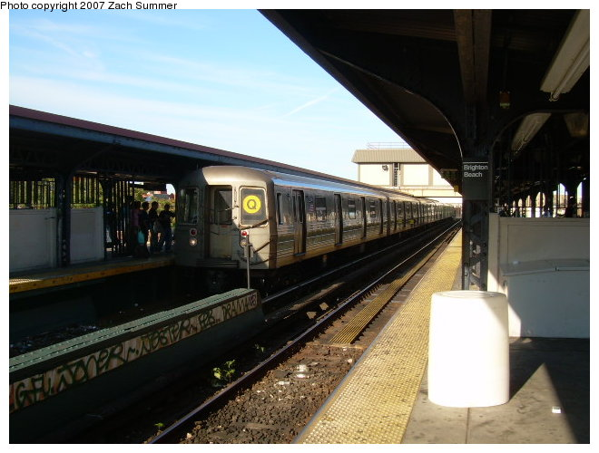(110k, 660x500)<br><b>Country:</b> United States<br><b>City:</b> New York<br><b>System:</b> New York City Transit<br><b>Line:</b> BMT Brighton Line<br><b>Location:</b> Brighton Beach <br><b>Route:</b> Q<br><b>Car:</b> R-68 (Westinghouse-Amrail, 1986-1988)  2904 <br><b>Photo by:</b> Zach Summer<br><b>Date:</b> 8/12/2006<br><b>Viewed (this week/total):</b> 1 / 1270