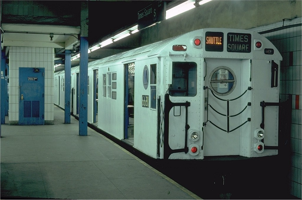 (162k, 1024x678)<br><b>Country:</b> United States<br><b>City:</b> New York<br><b>System:</b> New York City Transit<br><b>Line:</b> IRT Times Square-Grand Central Shuttle<br><b>Location:</b> Grand Central <br><b>Route:</b> S<br><b>Car:</b> R-17 (St. Louis, 1955-56) 6681 <br><b>Photo by:</b> Steve Zabel<br><b>Collection of:</b> Joe Testagrose<br><b>Date:</b> 2/16/1982<br><b>Viewed (this week/total):</b> 2 / 2664