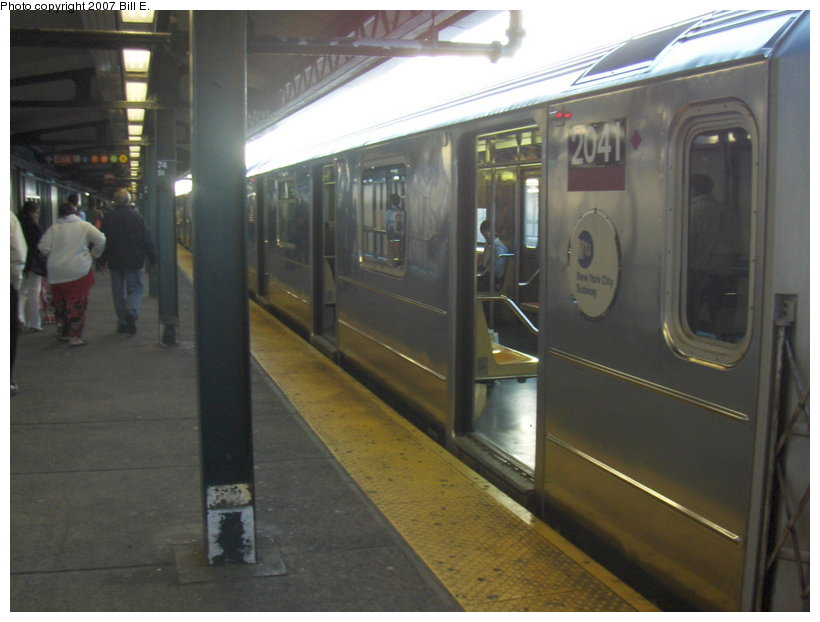 (87k, 820x622)<br><b>Country:</b> United States<br><b>City:</b> New York<br><b>System:</b> New York City Transit<br><b>Line:</b> IRT Flushing Line<br><b>Location:</b> 74th Street/Broadway <br><b>Route:</b> 7<br><b>Car:</b> R-62A (Bombardier, 1984-1987)  2041 <br><b>Photo by:</b> Bill E.<br><b>Date:</b> 5/6/2007<br><b>Viewed (this week/total):</b> 0 / 1316