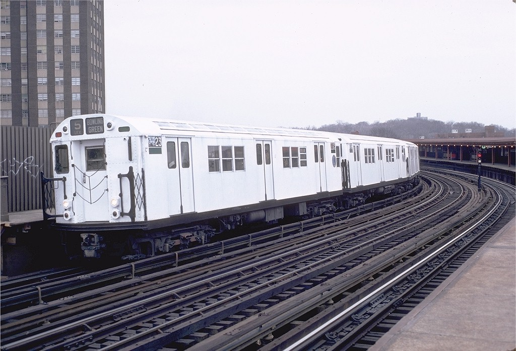 (208k, 1024x697)<br><b>Country:</b> United States<br><b>City:</b> New York<br><b>System:</b> New York City Transit<br><b>Line:</b> IRT White Plains Road Line<br><b>Location:</b> West Farms Sq./East Tremont Ave./177th St. <br><b>Route:</b> 5<br><b>Car:</b> R-22 (St. Louis, 1957-58) 7723 <br><b>Photo by:</b> Doug Grotjahn<br><b>Collection of:</b> Joe Testagrose<br><b>Date:</b> 12/19/1982<br><b>Viewed (this week/total):</b> 2 / 2330