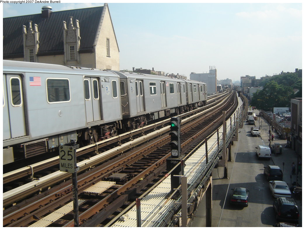 (206k, 1044x788)<br><b>Country:</b> United States<br><b>City:</b> New York<br><b>System:</b> New York City Transit<br><b>Line:</b> IRT Woodlawn Line<br><b>Location:</b> Fordham Road <br><b>Route:</b> 4<br><b>Car:</b> R-142 (Option Order, Bombardier, 2002-2003)  7102 <br><b>Photo by:</b> DeAndre Burrell<br><b>Date:</b> 6/22/2006<br><b>Viewed (this week/total):</b> 1 / 3094
