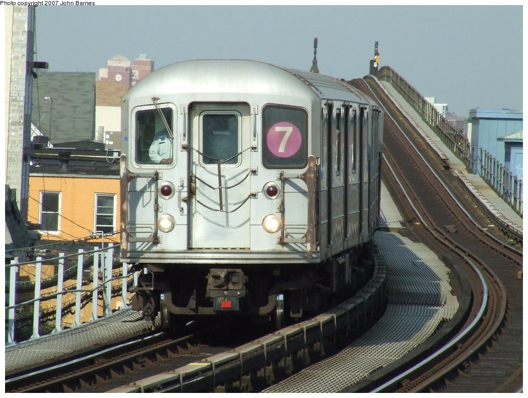 (196k, 1044x788)<br><b>Country:</b> United States<br><b>City:</b> New York<br><b>System:</b> New York City Transit<br><b>Line:</b> IRT Flushing Line<br><b>Location:</b> 103rd Street/Corona Plaza <br><b>Route:</b> 7<br><b>Car:</b> R-62A (Bombardier, 1984-1987)  1840 <br><b>Photo by:</b> John Barnes<br><b>Date:</b> 5/15/2007<br><b>Viewed (this week/total):</b> 6 / 1607