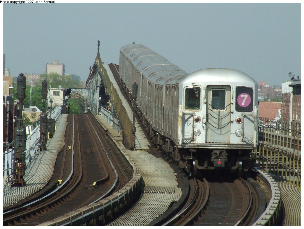 (184k, 1044x788)<br><b>Country:</b> United States<br><b>City:</b> New York<br><b>System:</b> New York City Transit<br><b>Line:</b> IRT Flushing Line<br><b>Location:</b> 103rd Street/Corona Plaza <br><b>Route:</b> 7<br><b>Car:</b> R-62A (Bombardier, 1984-1987)  1726 <br><b>Photo by:</b> John Barnes<br><b>Date:</b> 5/15/2007<br><b>Viewed (this week/total):</b> 1 / 2406