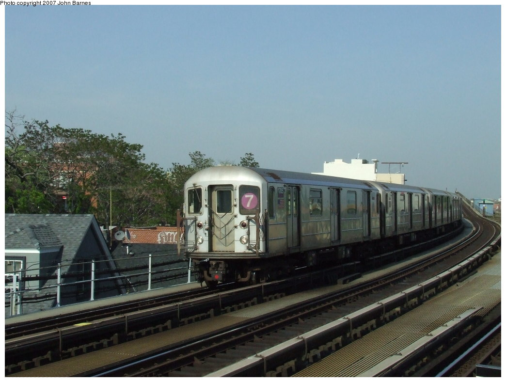 (157k, 1044x788)<br><b>Country:</b> United States<br><b>City:</b> New York<br><b>System:</b> New York City Transit<br><b>Line:</b> IRT Flushing Line<br><b>Location:</b> 103rd Street/Corona Plaza <br><b>Route:</b> 7<br><b>Car:</b> R-62A (Bombardier, 1984-1987)  1705 <br><b>Photo by:</b> John Barnes<br><b>Date:</b> 5/15/2007<br><b>Viewed (this week/total):</b> 2 / 1346