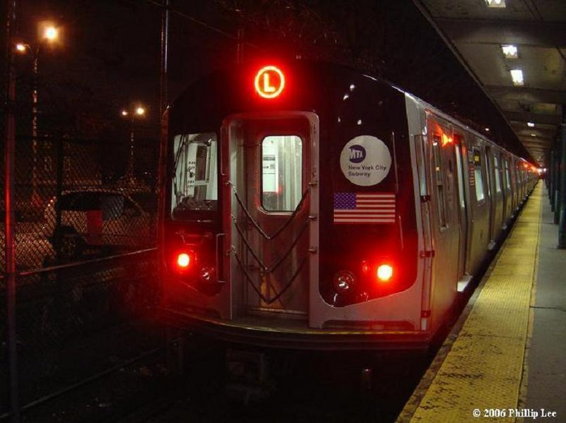 (77k, 800x599)<br><b>Country:</b> United States<br><b>City:</b> New York<br><b>System:</b> New York City Transit<br><b>Line:</b> BMT Canarsie Line<br><b>Location:</b> Rockaway Parkway <br><b>Route:</b> L<br><b>Car:</b> R-143 (Kawasaki, 2001-2002)  <br><b>Photo by:</b> Phillip Lee<br><b>Date:</b> 1/31/2006<br><b>Viewed (this week/total):</b> 3 / 2001