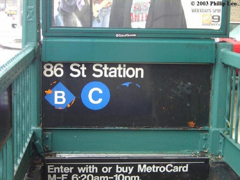 (87k, 800x601)<br><b>Country:</b> United States<br><b>City:</b> New York<br><b>System:</b> New York City Transit<br><b>Line:</b> IND 8th Avenue Line<br><b>Location:</b> 86th Street <br><b>Photo by:</b> Phillip Lee<br><b>Date:</b> 3/2003<br><b>Notes:</b> Entrance at 88th St.<br><b>Viewed (this week/total):</b> 0 / 2062