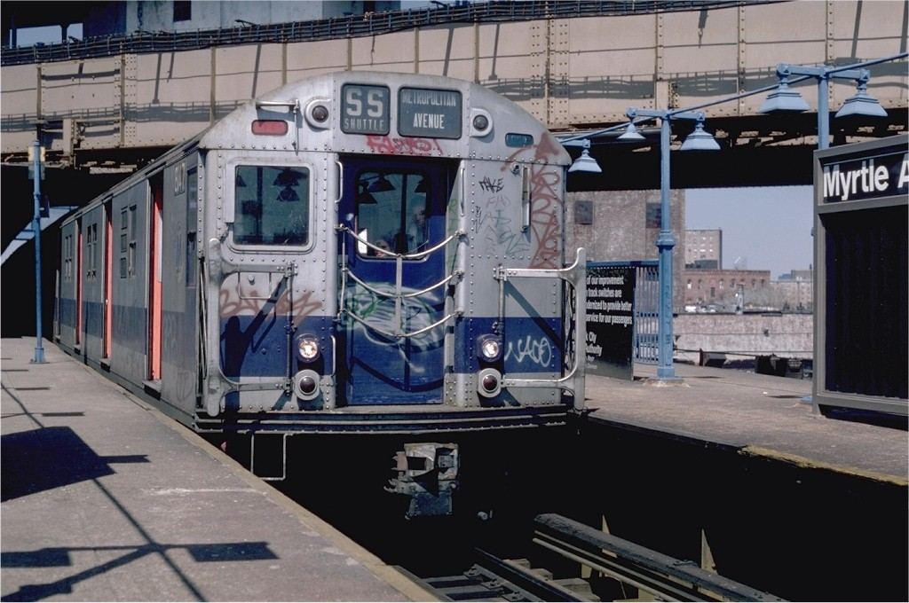 (189k, 1024x680)<br><b>Country:</b> United States<br><b>City:</b> New York<br><b>System:</b> New York City Transit<br><b>Line:</b> BMT Nassau Street/Jamaica Line<br><b>Location:</b> Myrtle Avenue <br><b>Route:</b> M<br><b>Car:</b> R-27 (St. Louis, 1960)  8147 <br><b>Photo by:</b> Steve Zabel<br><b>Collection of:</b> Joe Testagrose<br><b>Date:</b> 4/14/1982<br><b>Viewed (this week/total):</b> 4 / 2146