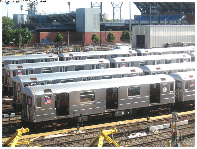 (141k, 820x620)<br><b>Country:</b> United States<br><b>City:</b> New York<br><b>System:</b> New York City Transit<br><b>Location:</b> Corona Yard<br><b>Car:</b> R-62A (Bombardier, 1984-1987)  1907 <br><b>Photo by:</b> Gary Chatterton<br><b>Date:</b> 5/23/2007<br><b>Viewed (this week/total):</b> 1 / 2517
