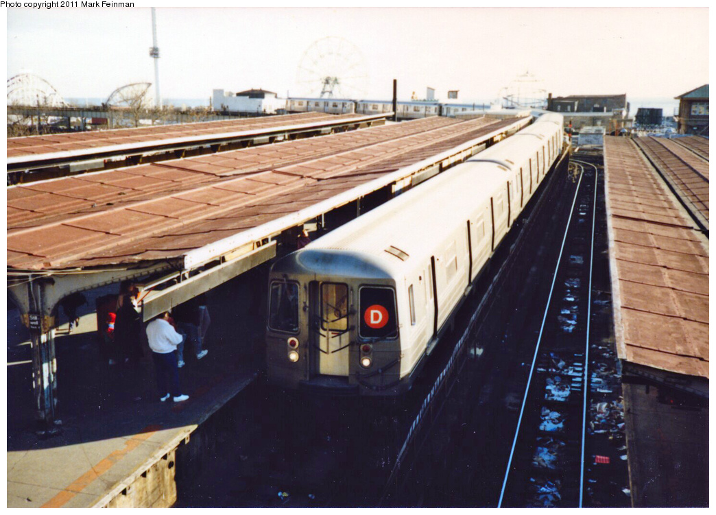 (341k, 1044x751)<br><b>Country:</b> United States<br><b>City:</b> New York<br><b>System:</b> New York City Transit<br><b>Location:</b> Coney Island/Stillwell Avenue<br><b>Route:</b> D<br><b>Car:</b> R-68/R-68A Series (Number Unknown)  <br><b>Photo by:</b> Mark S. Feinman<br><b>Date:</b> 11/22/1989<br><b>Viewed (this week/total):</b> 0 / 657