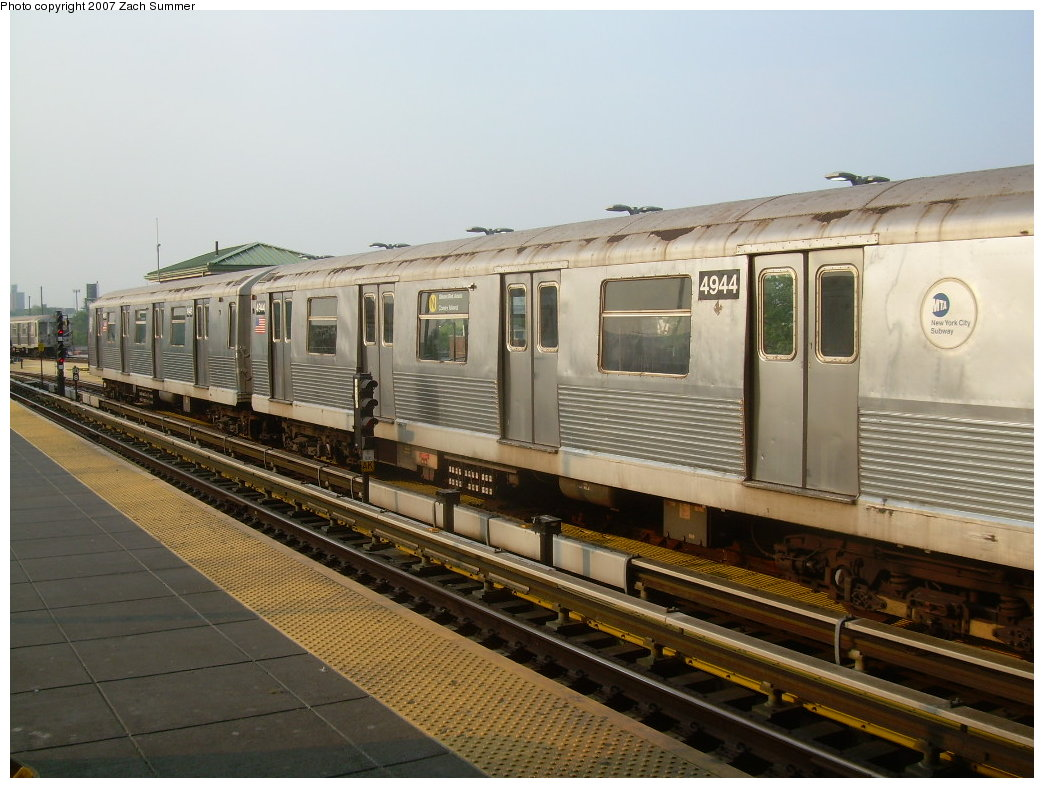 (200k, 1044x788)<br><b>Country:</b> United States<br><b>City:</b> New York<br><b>System:</b> New York City Transit<br><b>Location:</b> Coney Island/Stillwell Avenue<br><b>Route:</b> N<br><b>Car:</b> R-42 (St. Louis, 1969-1970)  4944 <br><b>Photo by:</b> Zach Summer<br><b>Date:</b> 5/27/2007<br><b>Viewed (this week/total):</b> 0 / 1550