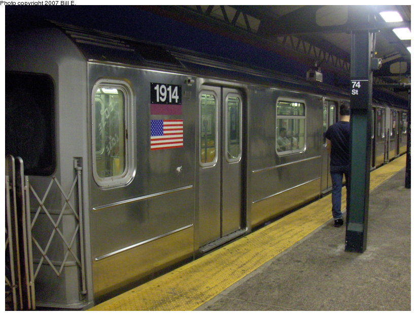 (114k, 820x622)<br><b>Country:</b> United States<br><b>City:</b> New York<br><b>System:</b> New York City Transit<br><b>Line:</b> IRT Flushing Line<br><b>Location:</b> 74th Street/Broadway <br><b>Route:</b> 7<br><b>Car:</b> R-62A (Bombardier, 1984-1987)  1914 <br><b>Photo by:</b> Bill E.<br><b>Date:</b> 5/31/2007<br><b>Viewed (this week/total):</b> 2 / 1652
