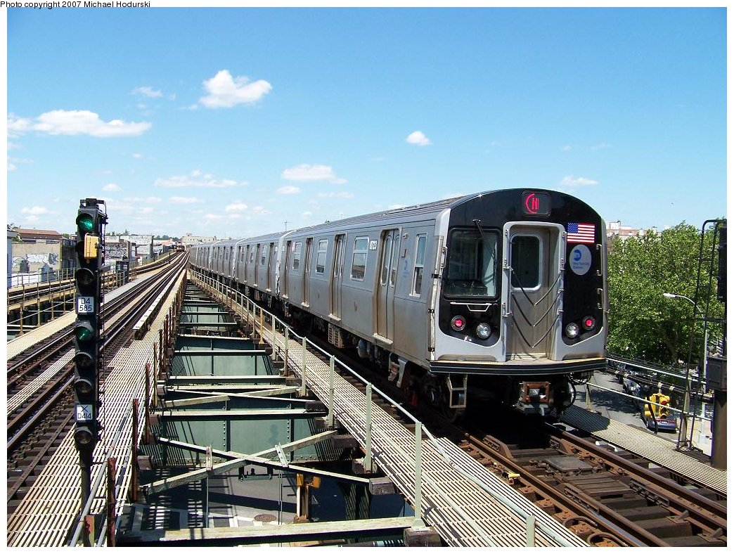 (252k, 1044x788)<br><b>Country:</b> United States<br><b>City:</b> New York<br><b>System:</b> New York City Transit<br><b>Line:</b> BMT West End Line<br><b>Location:</b> 62nd Street <br><b>Route:</b> N<br><b>Car:</b> R-160B (Kawasaki, 2005-2008)  8723 <br><b>Photo by:</b> Michael Hodurski<br><b>Date:</b> 6/6/2007<br><b>Viewed (this week/total):</b> 3 / 1736