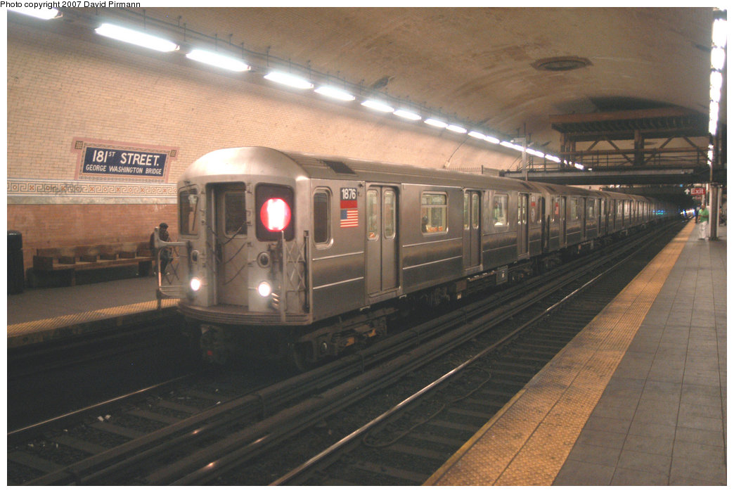 (193k, 1044x701)<br><b>Country:</b> United States<br><b>City:</b> New York<br><b>System:</b> New York City Transit<br><b>Line:</b> IRT West Side Line<br><b>Location:</b> 181st Street <br><b>Route:</b> 1<br><b>Car:</b> R-62A (Bombardier, 1984-1987)  1876 <br><b>Photo by:</b> David Pirmann<br><b>Date:</b> 6/9/2007<br><b>Viewed (this week/total):</b> 2 / 2755