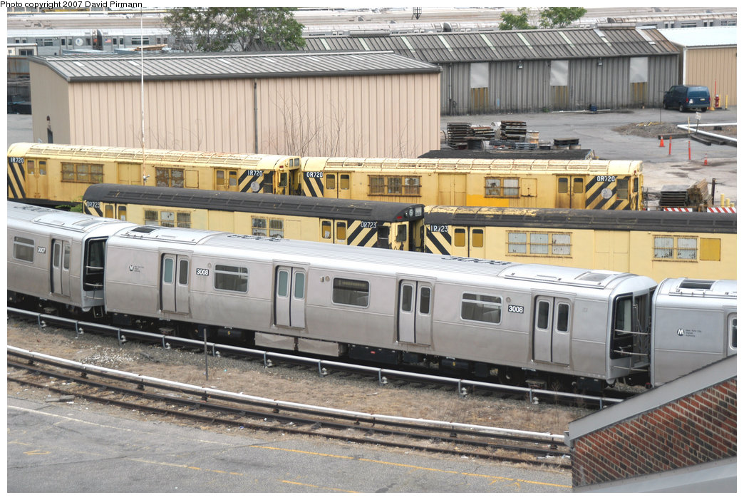 (255k, 1044x701)<br><b>Country:</b> United States<br><b>City:</b> New York<br><b>System:</b> New York City Transit<br><b>Location:</b> 207th Street Yard<br><b>Car:</b> R-110B (Bombardier, 1992) 3008 <br><b>Photo by:</b> David Pirmann<br><b>Date:</b> 6/9/2007<br><b>Notes:</b> R110B test train on scrap line at 207th St.<br><b>Viewed (this week/total):</b> 1 / 2303