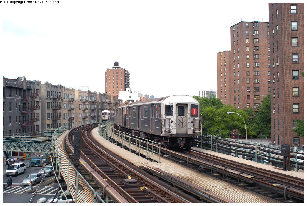 (250k, 1044x701)<br><b>Country:</b> United States<br><b>City:</b> New York<br><b>System:</b> New York City Transit<br><b>Line:</b> IRT West Side Line<br><b>Location:</b> Dyckman Street <br><b>Route:</b> 1<br><b>Car:</b> R-62A (Bombardier, 1984-1987)  1876 <br><b>Photo by:</b> David Pirmann<br><b>Date:</b> 6/9/2007<br><b>Viewed (this week/total):</b> 0 / 1634