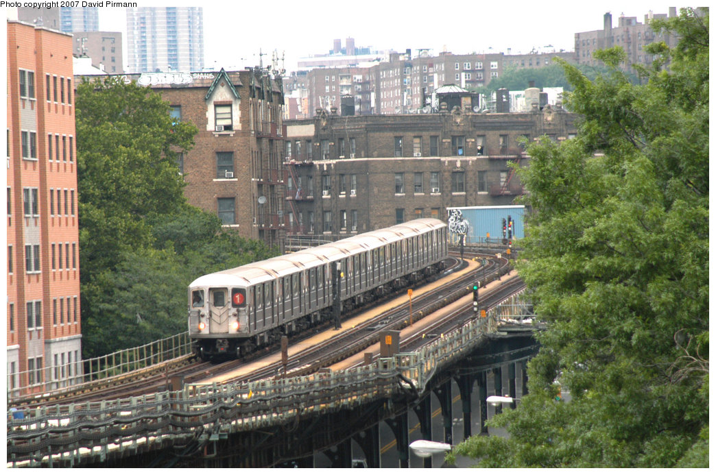 (256k, 1044x693)<br><b>Country:</b> United States<br><b>City:</b> New York<br><b>System:</b> New York City Transit<br><b>Line:</b> IRT West Side Line<br><b>Location:</b> Dyckman Street <br><b>Route:</b> 1<br><b>Car:</b> R-62A (Bombardier, 1984-1987)  2410 <br><b>Photo by:</b> David Pirmann<br><b>Date:</b> 6/9/2007<br><b>Viewed (this week/total):</b> 5 / 2871