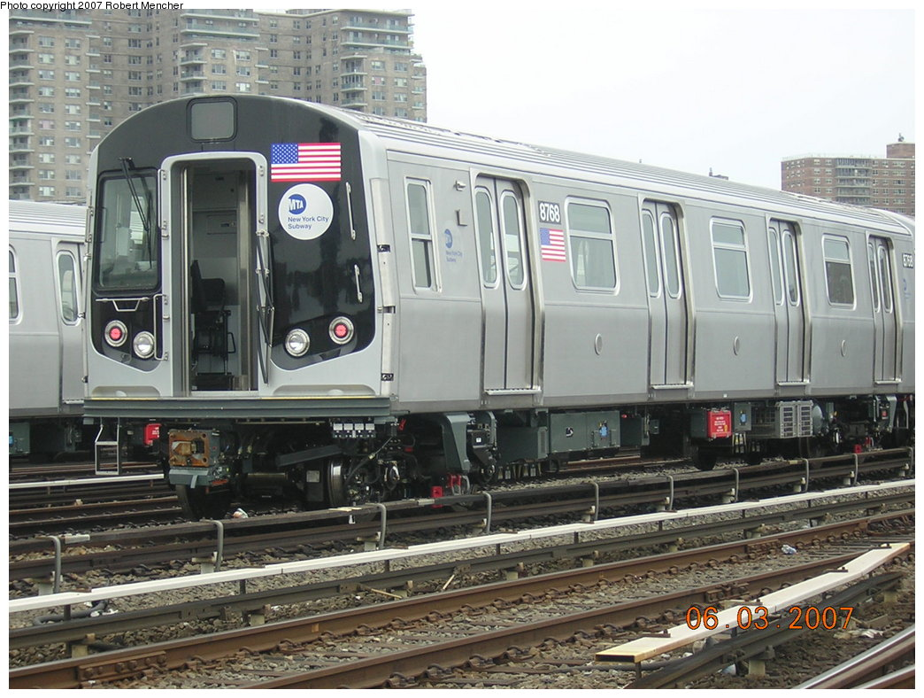 (225k, 1044x788)<br><b>Country:</b> United States<br><b>City:</b> New York<br><b>System:</b> New York City Transit<br><b>Location:</b> Coney Island Yard<br><b>Car:</b> R-160B (Kawasaki, 2005-2008)  8768 <br><b>Photo by:</b> Robert Mencher<br><b>Date:</b> 6/3/2007<br><b>Viewed (this week/total):</b> 0 / 2010