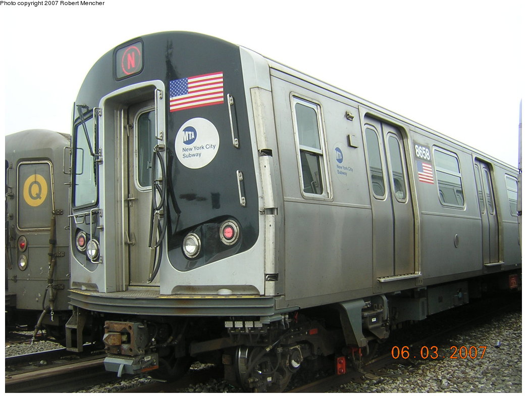 (183k, 1044x788)<br><b>Country:</b> United States<br><b>City:</b> New York<br><b>System:</b> New York City Transit<br><b>Location:</b> Coney Island Yard<br><b>Car:</b> R-160A-2 (Alstom, 2005-2008, 5 car sets)  8658 <br><b>Photo by:</b> Robert Mencher<br><b>Date:</b> 6/3/2007<br><b>Viewed (this week/total):</b> 2 / 1840