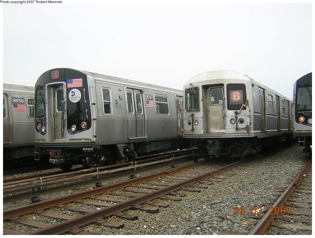 (204k, 1044x788)<br><b>Country:</b> United States<br><b>City:</b> New York<br><b>System:</b> New York City Transit<br><b>Location:</b> Coney Island Yard<br><b>Car:</b> R-160B (Kawasaki, 2005-2008)  8747 <br><b>Photo by:</b> Robert Mencher<br><b>Date:</b> 6/3/2007<br><b>Viewed (this week/total):</b> 0 / 2919