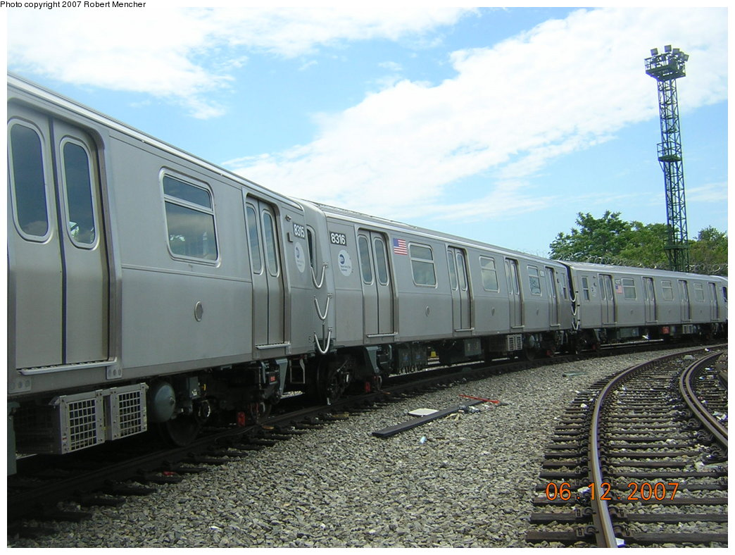 (219k, 1044x788)<br><b>Country:</b> United States<br><b>City:</b> New York<br><b>System:</b> New York City Transit<br><b>Location:</b> Rockaway Parkway (Canarsie) Yard<br><b>Car:</b> R-160A-1 (Alstom, 2005-2008, 4 car sets)  8316 <br><b>Photo by:</b> Robert Mencher<br><b>Date:</b> 6/12/2007<br><b>Viewed (this week/total):</b> 0 / 1377