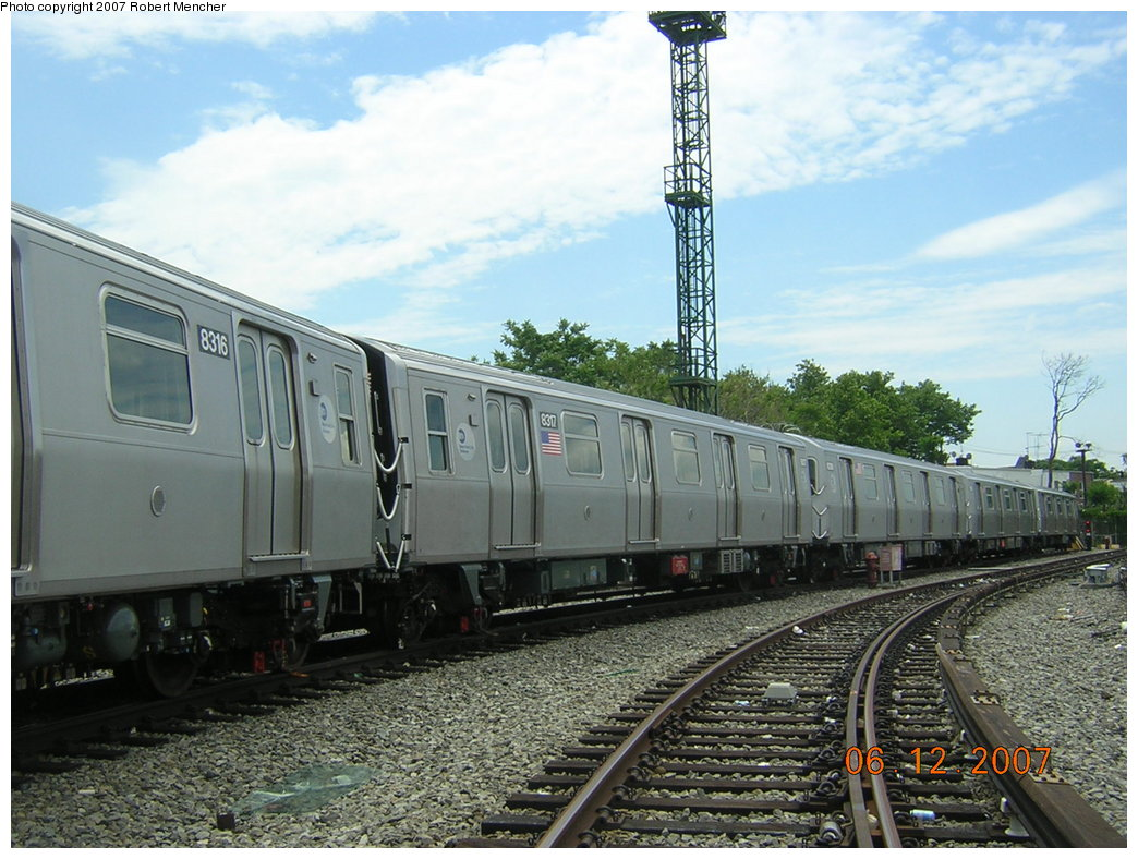 (220k, 1044x788)<br><b>Country:</b> United States<br><b>City:</b> New York<br><b>System:</b> New York City Transit<br><b>Location:</b> Rockaway Parkway (Canarsie) Yard<br><b>Car:</b> R-160A-1 (Alstom, 2005-2008, 4 car sets)  8317 <br><b>Photo by:</b> Robert Mencher<br><b>Date:</b> 6/12/2007<br><b>Viewed (this week/total):</b> 0 / 2498