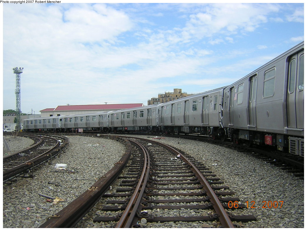 (230k, 1044x788)<br><b>Country:</b> United States<br><b>City:</b> New York<br><b>System:</b> New York City Transit<br><b>Location:</b> Rockaway Parkway (Canarsie) Yard<br><b>Car:</b> R-160A-1 (Alstom, 2005-2008, 4 car sets)  8316 <br><b>Photo by:</b> Robert Mencher<br><b>Date:</b> 6/12/2007<br><b>Viewed (this week/total):</b> 6 / 1675