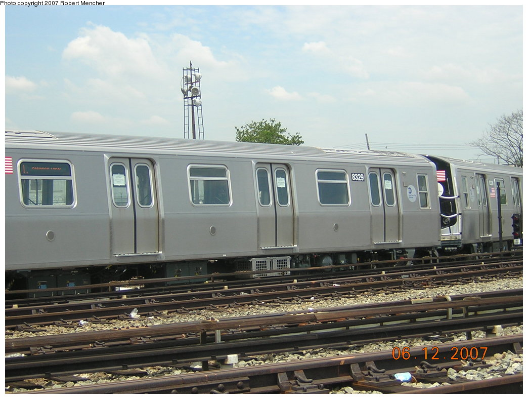 (199k, 1044x788)<br><b>Country:</b> United States<br><b>City:</b> New York<br><b>System:</b> New York City Transit<br><b>Location:</b> Rockaway Parkway (Canarsie) Yard<br><b>Car:</b> R-160A-1 (Alstom, 2005-2008, 4 car sets)  8329 <br><b>Photo by:</b> Robert Mencher<br><b>Date:</b> 6/12/2007<br><b>Viewed (this week/total):</b> 0 / 2299