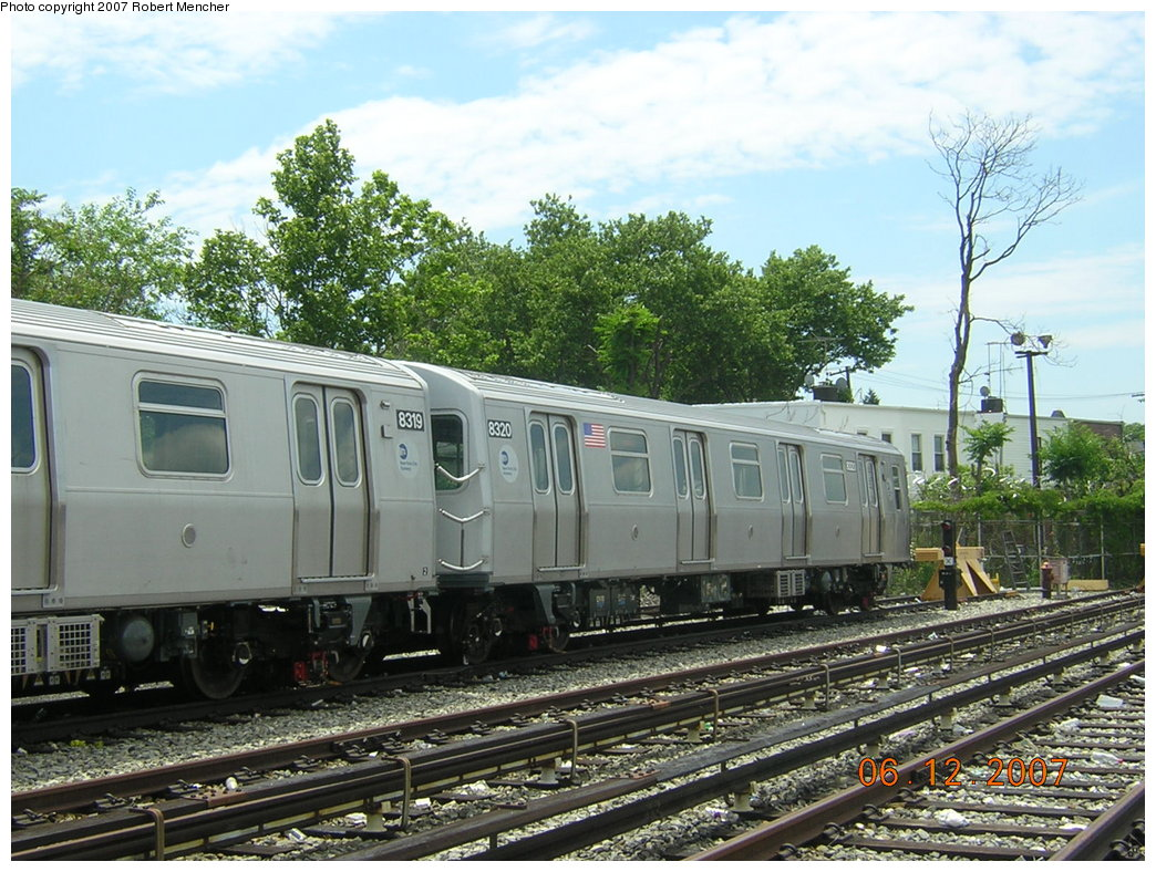(251k, 1044x788)<br><b>Country:</b> United States<br><b>City:</b> New York<br><b>System:</b> New York City Transit<br><b>Location:</b> Rockaway Parkway (Canarsie) Yard<br><b>Car:</b> R-160A-1 (Alstom, 2005-2008, 4 car sets)  8320 <br><b>Photo by:</b> Robert Mencher<br><b>Date:</b> 6/12/2007<br><b>Viewed (this week/total):</b> 3 / 2622
