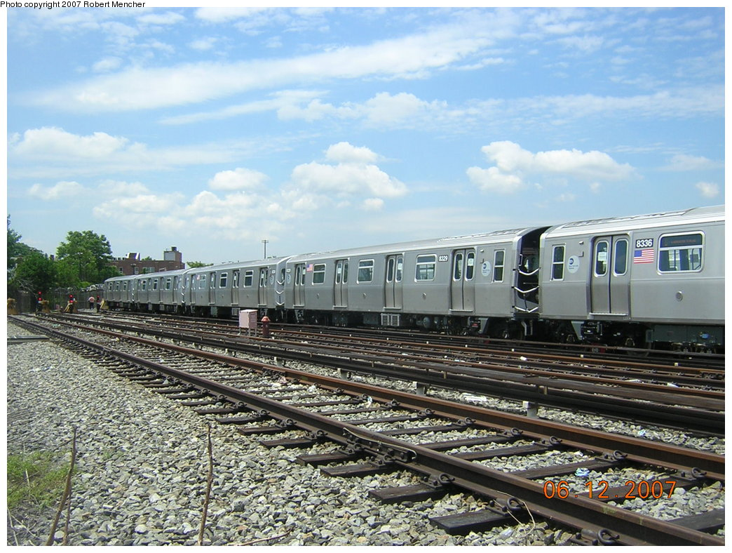 (252k, 1044x788)<br><b>Country:</b> United States<br><b>City:</b> New York<br><b>System:</b> New York City Transit<br><b>Location:</b> Rockaway Parkway (Canarsie) Yard<br><b>Car:</b> R-160A-1 (Alstom, 2005-2008, 4 car sets)  8329 <br><b>Photo by:</b> Robert Mencher<br><b>Date:</b> 6/12/2007<br><b>Viewed (this week/total):</b> 0 / 1285