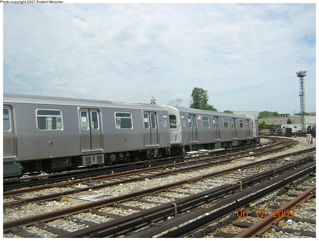 (220k, 1044x788)<br><b>Country:</b> United States<br><b>City:</b> New York<br><b>System:</b> New York City Transit<br><b>Location:</b> Rockaway Parkway (Canarsie) Yard<br><b>Car:</b> R-160A-1 (Alstom, 2005-2008, 4 car sets)  8334 <br><b>Photo by:</b> Robert Mencher<br><b>Date:</b> 6/12/2007<br><b>Viewed (this week/total):</b> 1 / 2367