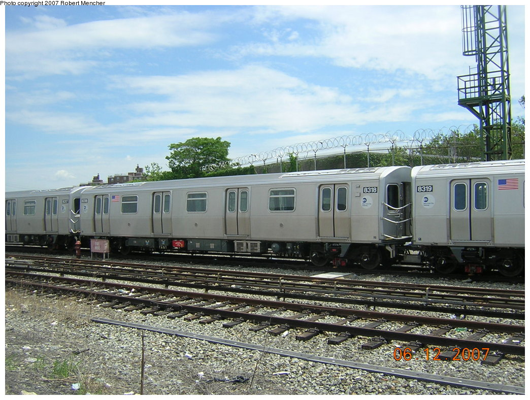 (254k, 1044x788)<br><b>Country:</b> United States<br><b>City:</b> New York<br><b>System:</b> New York City Transit<br><b>Location:</b> Rockaway Parkway (Canarsie) Yard<br><b>Car:</b> R-160A-1 (Alstom, 2005-2008, 4 car sets)  8318 <br><b>Photo by:</b> Robert Mencher<br><b>Date:</b> 6/12/2007<br><b>Viewed (this week/total):</b> 5 / 2596