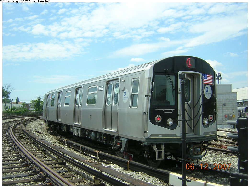 (216k, 1044x788)<br><b>Country:</b> United States<br><b>City:</b> New York<br><b>System:</b> New York City Transit<br><b>Location:</b> Rockaway Parkway (Canarsie) Yard<br><b>Car:</b> R-160A-1 (Alstom, 2005-2008, 4 car sets)  8333 <br><b>Photo by:</b> Robert Mencher<br><b>Date:</b> 6/12/2007<br><b>Viewed (this week/total):</b> 2 / 2040