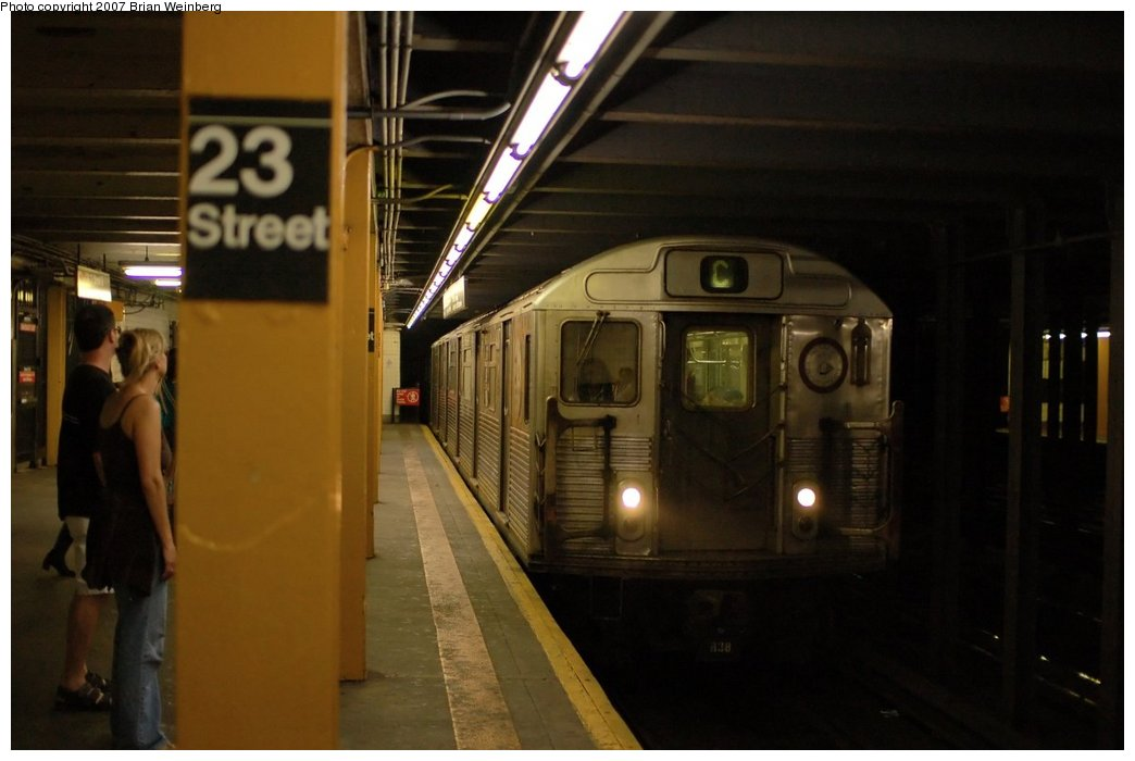 (163k, 1044x700)<br><b>Country:</b> United States<br><b>City:</b> New York<br><b>System:</b> New York City Transit<br><b>Line:</b> IND 8th Avenue Line<br><b>Location:</b> 23rd Street <br><b>Route:</b> C<br><b>Car:</b> R-38 (St. Louis, 1966-1967)   <br><b>Photo by:</b> Brian Weinberg<br><b>Date:</b> 6/8/2007<br><b>Viewed (this week/total):</b> 1 / 2850
