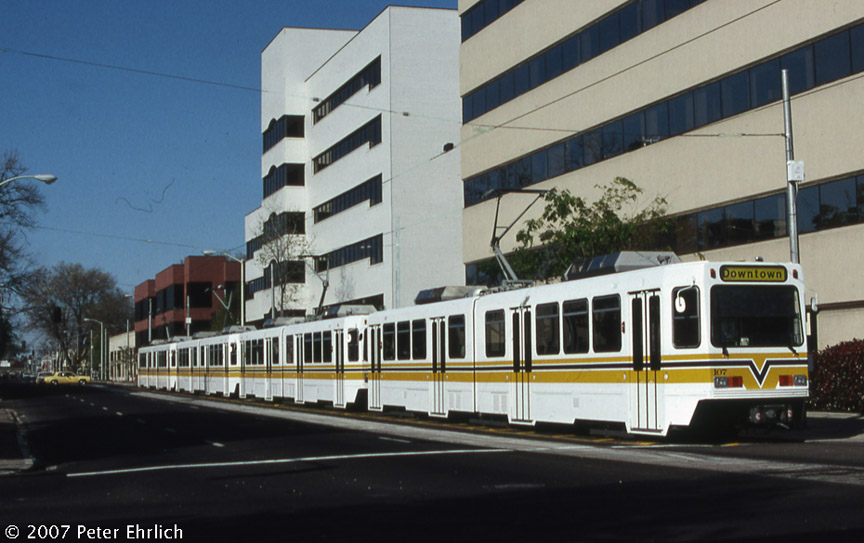(161k, 864x543)<br><b>Country:</b> United States<br><b>City:</b> Sacramento, CA<br><b>System:</b> SACRT Light Rail<br><b>Location:</b> 12th & I <br><b>Car:</b> Sacramento Siemens LRV  107 <br><b>Photo by:</b> Peter Ehrlich<br><b>Date:</b> 4/4/1987<br><b>Notes:</b> 12th & I Station, trailing view.<br><b>Viewed (this week/total):</b> 0 / 1185