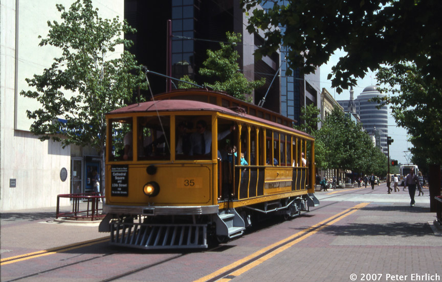 (209k, 864x552)<br><b>Country:</b> United States<br><b>City:</b> Sacramento, CA<br><b>System:</b> SACRT Light Rail<br><b>Location:</b> 8th & K <br><b>Car:</b>  35 <br><b>Photo by:</b> Peter Ehrlich<br><b>Date:</b> 5/3/1991<br><b>Notes:</b> PG&E 35 on the K Street Mall.<br><b>Viewed (this week/total):</b> 0 / 687