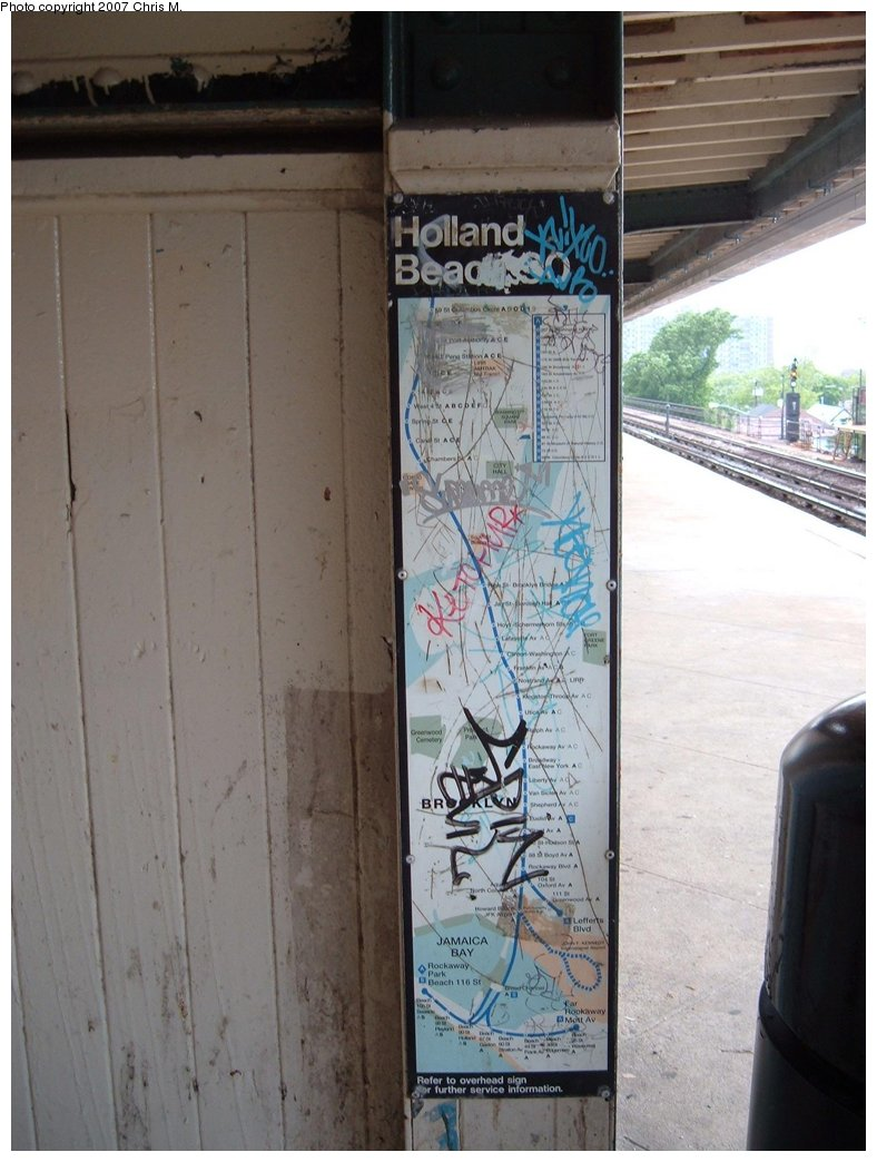 (154k, 788x1044)<br><b>Country:</b> United States<br><b>City:</b> New York<br><b>System:</b> New York City Transit<br><b>Line:</b> IND Rockaway<br><b>Location:</b> Beach 90th Street/Holland <br><b>Photo by:</b> Chris M.<br><b>Date:</b> 6/9/2007<br><b>Notes:</b> Map from 1990s? of the A line. Doesn't include Aqueduct Racetrack (or JFK Airtrain).<br><b>Viewed (this week/total):</b> 2 / 1308