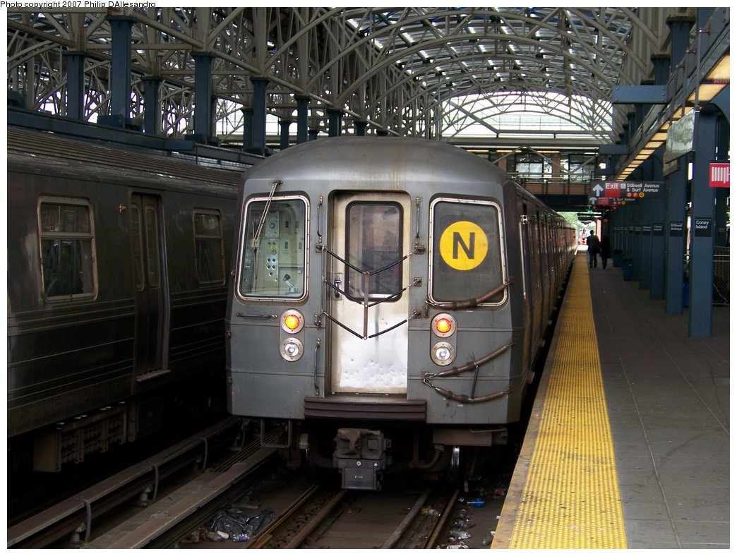 (196k, 1044x788)<br><b>Country:</b> United States<br><b>City:</b> New York<br><b>System:</b> New York City Transit<br><b>Location:</b> Coney Island/Stillwell Avenue<br><b>Route:</b> N<br><b>Car:</b> R-68/R-68A Series (Number Unknown)  <br><b>Photo by:</b> Philip D'Allesandro<br><b>Date:</b> 6/14/2007<br><b>Viewed (this week/total):</b> 0 / 1286