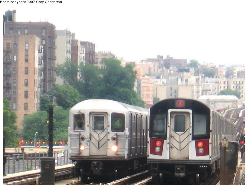(93k, 820x620)<br><b>Country:</b> United States<br><b>City:</b> New York<br><b>System:</b> New York City Transit<br><b>Line:</b> IRT Woodlawn Line<br><b>Location:</b> 170th Street <br><b>Route:</b> 4<br><b>Car:</b> R-142A (Option Order, Kawasaki, 2002-2003)  7685 <br><b>Photo by:</b> Gary Chatterton<br><b>Date:</b> 6/10/2007<br><b>Notes:</b> With R62 1545.<br><b>Viewed (this week/total):</b> 2 / 3593