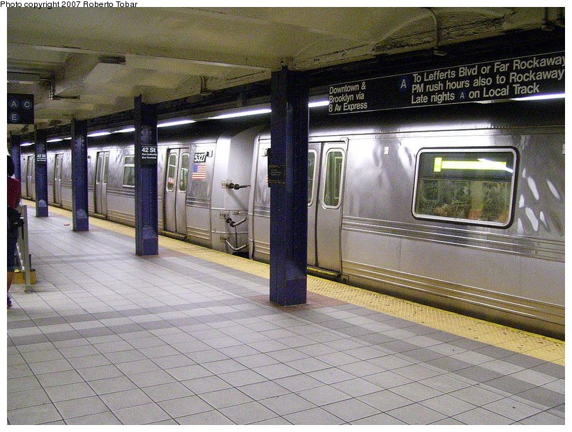 (157k, 820x620)<br><b>Country:</b> United States<br><b>City:</b> New York<br><b>System:</b> New York City Transit<br><b>Line:</b> IND 8th Avenue Line<br><b>Location:</b> 42nd Street/Port Authority Bus Terminal <br><b>Route:</b> A<br><b>Car:</b> R-44 (St. Louis, 1971-73) 5327 <br><b>Photo by:</b> Roberto C. Tobar<br><b>Date:</b> 6/18/2007<br><b>Viewed (this week/total):</b> 6 / 4054