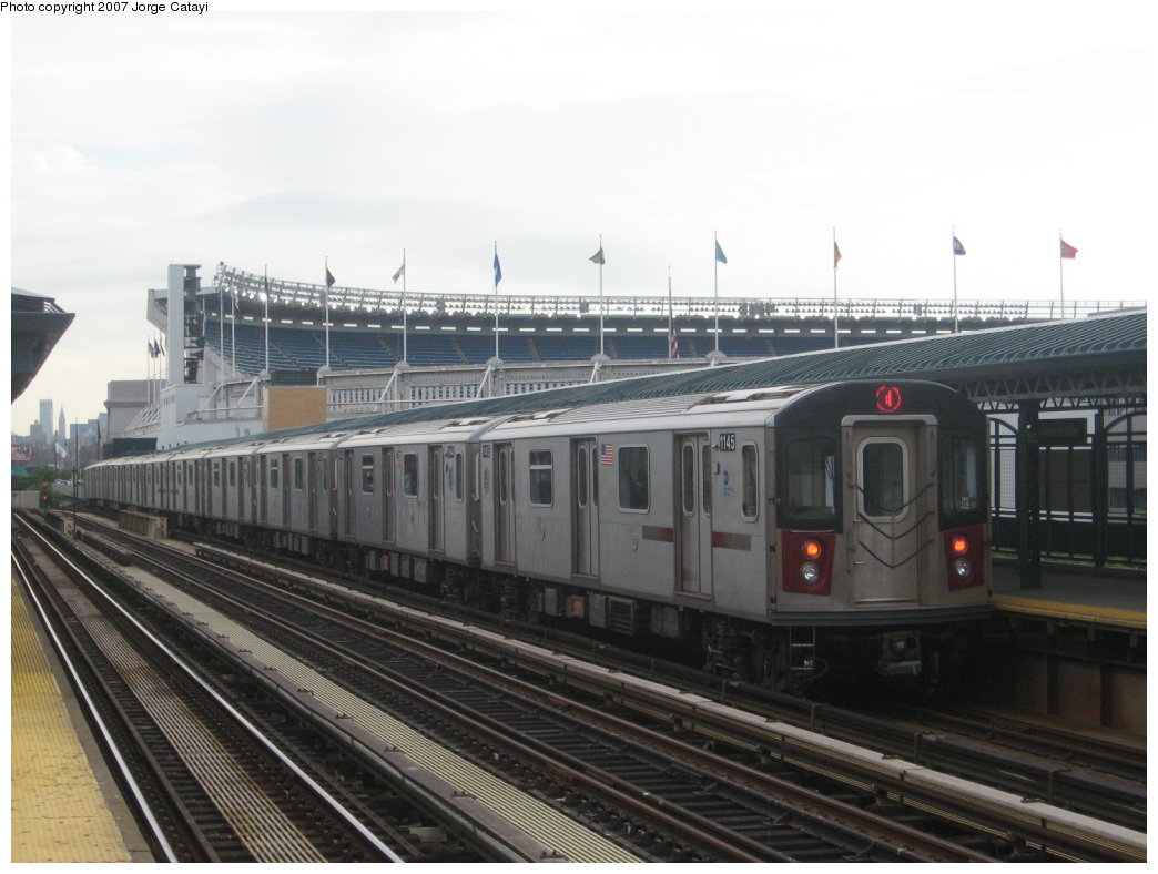(144k, 1044x788)<br><b>Country:</b> United States<br><b>City:</b> New York<br><b>System:</b> New York City Transit<br><b>Line:</b> IRT Woodlawn Line<br><b>Location:</b> 161st Street/River Avenue (Yankee Stadium) <br><b>Route:</b> 4<br><b>Car:</b> R-142 (Option Order, Bombardier, 2002-2003)  1145 <br><b>Photo by:</b> Jorge Catayi<br><b>Date:</b> 6/10/2007<br><b>Viewed (this week/total):</b> 2 / 1693