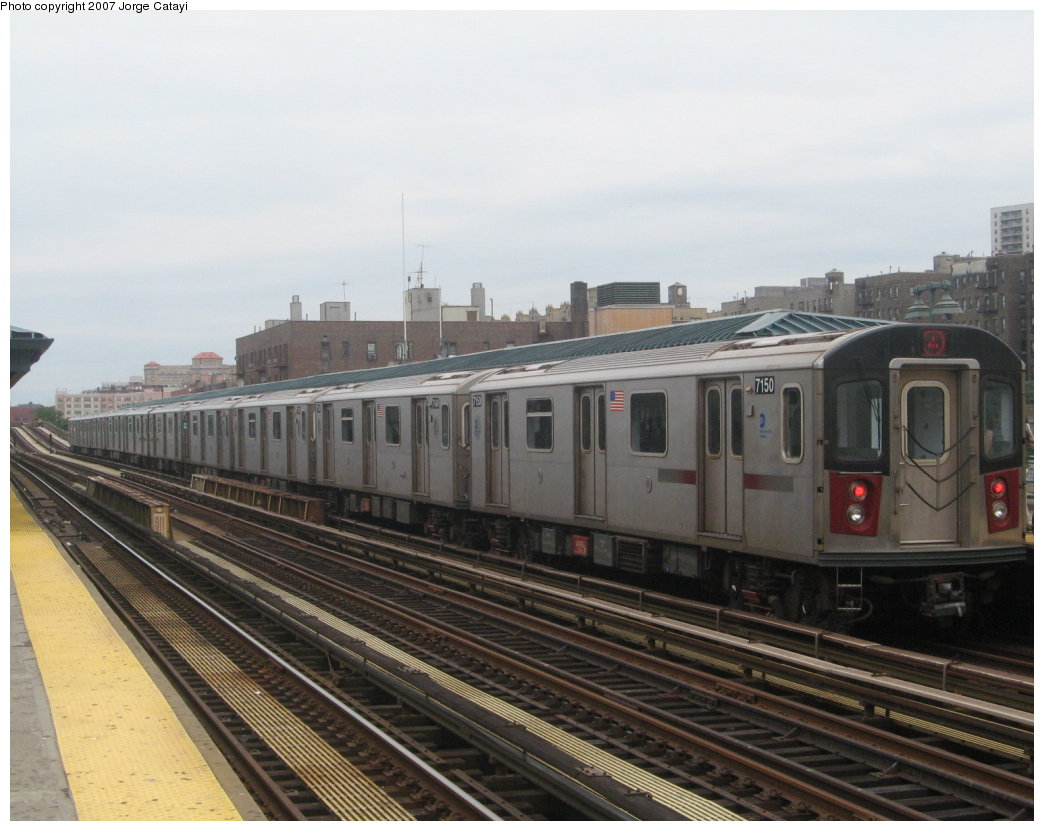 (152k, 1044x831)<br><b>Country:</b> United States<br><b>City:</b> New York<br><b>System:</b> New York City Transit<br><b>Line:</b> IRT Woodlawn Line<br><b>Location:</b> 161st Street/River Avenue (Yankee Stadium) <br><b>Route:</b> 4<br><b>Car:</b> R-142 (Option Order, Bombardier, 2002-2003)  7150 <br><b>Photo by:</b> Jorge Catayi<br><b>Date:</b> 6/10/2007<br><b>Viewed (this week/total):</b> 2 / 2124
