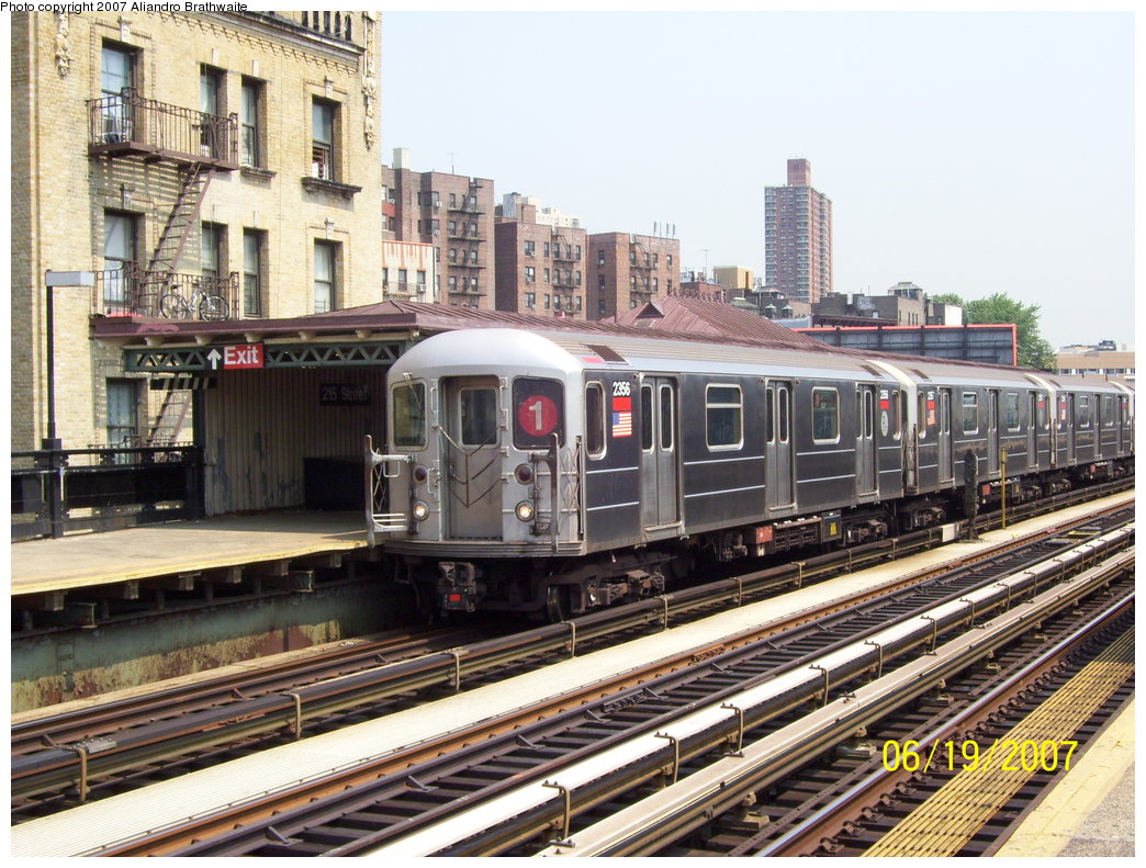 (238k, 1044x791)<br><b>Country:</b> United States<br><b>City:</b> New York<br><b>System:</b> New York City Transit<br><b>Line:</b> IRT West Side Line<br><b>Location:</b> 215th Street <br><b>Route:</b> 1<br><b>Car:</b> R-62A (Bombardier, 1984-1987)  2356 <br><b>Photo by:</b> Aliandro Brathwaite<br><b>Date:</b> 6/19/2007<br><b>Viewed (this week/total):</b> 0 / 1838