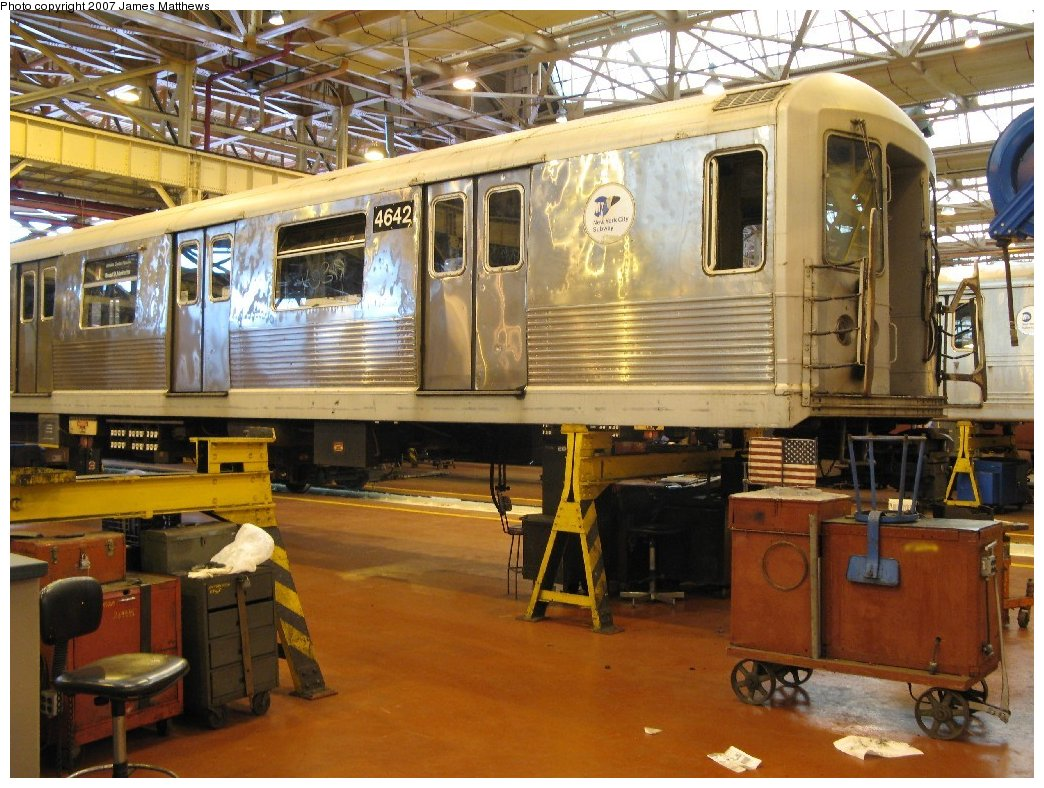 (199k, 1044x788)<br><b>Country:</b> United States<br><b>City:</b> New York<br><b>System:</b> New York City Transit<br><b>Location:</b> Coney Island Shop/Overhaul & Repair Shop<br><b>Car:</b> R-42 (St. Louis, 1969-1970)  4642 <br><b>Photo by:</b> James Matthews<br><b>Date:</b> 4/24/2007<br><b>Viewed (this week/total):</b> 2 / 1400