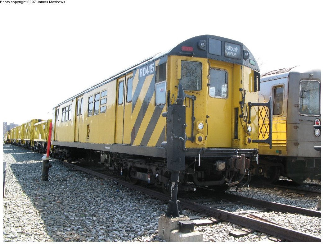(186k, 1044x788)<br><b>Country:</b> United States<br><b>City:</b> New York<br><b>System:</b> New York City Transit<br><b>Location:</b> Coney Island Yard<br><b>Car:</b> R-161 Rider Car (ex-R-33)  RD415 (ex-9021)<br><b>Photo by:</b> James Matthews<br><b>Date:</b> 4/24/2007<br><b>Notes:</b> Stillwell Yard<br><b>Viewed (this week/total):</b> 0 / 1297