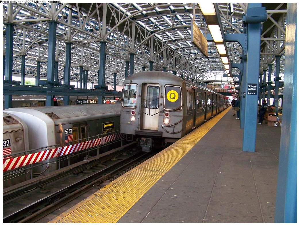 (284k, 1044x788)<br><b>Country:</b> United States<br><b>City:</b> New York<br><b>System:</b> New York City Transit<br><b>Location:</b> Coney Island/Stillwell Avenue<br><b>Route:</b> Q<br><b>Car:</b> R-68A (Kawasaki, 1988-1989)  5166 <br><b>Photo by:</b> Michael Hodurski<br><b>Date:</b> 6/14/2007<br><b>Viewed (this week/total):</b> 1 / 1462